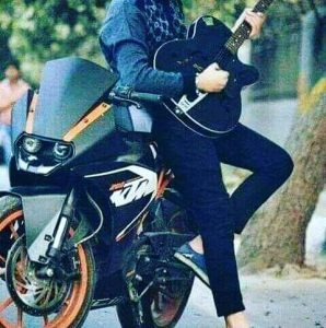 Cool boy with stylish bike whatsapp dp